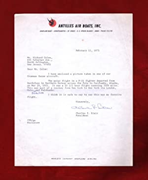 Charles F. Blair, Jr. TLS (Typed Letter Signed), Re: 1st Solo Flight Across Arctic Ocean and Nort...