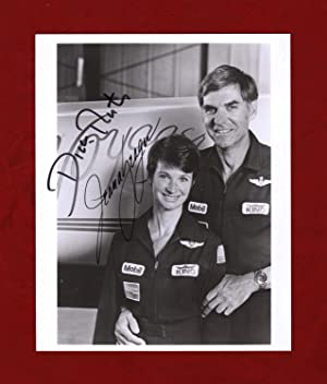 Jeana Yeager and Dick Rutan Signed Photo, August 1989, in Front of the Rutan Voyager. Aerospace C...