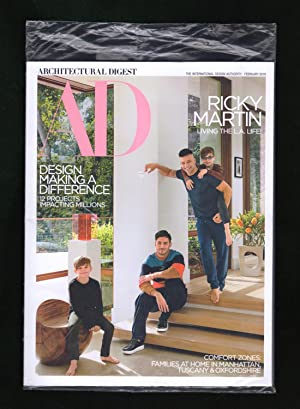 Architectural Digest - February, 2018. In Original Shipping Bag. Ricky Martin Living L.A. Life; M...