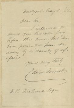Forrest, Edwin [Autographed Letter Signed]