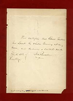 Henry Ward Beecher ALS [autographed letter signed]