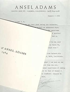 Ansel Adams TLS [typed Letter Signed with Laid-in photograph]; Irving Robbins, William Garnett