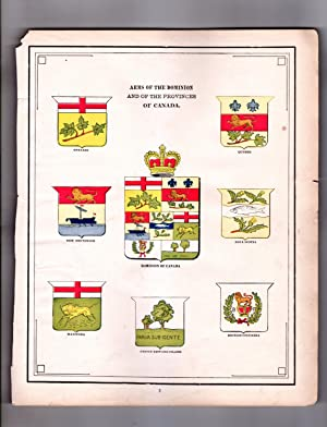 1888 Alaska Map & Arms of the Dominion and of the Provinces of Canada (Dominion, Ontario, Quebec,...