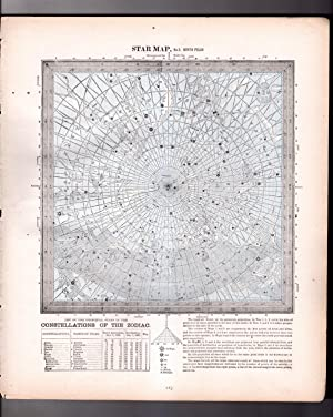 Vintage1888 Star Maps (Charts) 5 & 6 (Back to Back): North Polar & South Polar