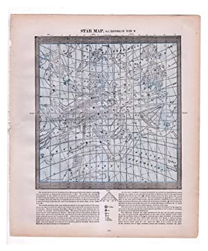 Vintage1888 Star Maps (Charts) 3 & 4 (Back to Back): Equatorial 135 to 225 W. and Equatorial 225 ...