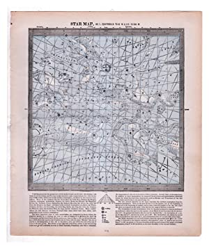 Vintage1888 Star Maps (Charts) 1 & 2 (Back to Back): Equatorial 0 to 45 W. and 315 to 360 W; Equa...
