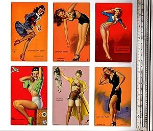 Six Mutoscope Cards Circa 1940: Moran, Earl; Elvgren,