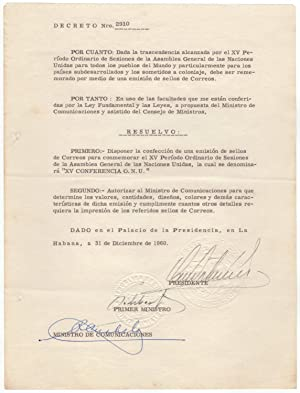 Rare document signed co-signed by President Dorticós: Castro, Fidel (1926-2016)