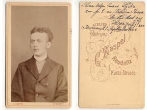 CDV Carte De Visite Foto Portrat Student Germania Leipzig 1884 Von Zaspel C Atelier Fur Photographie Reudnitz