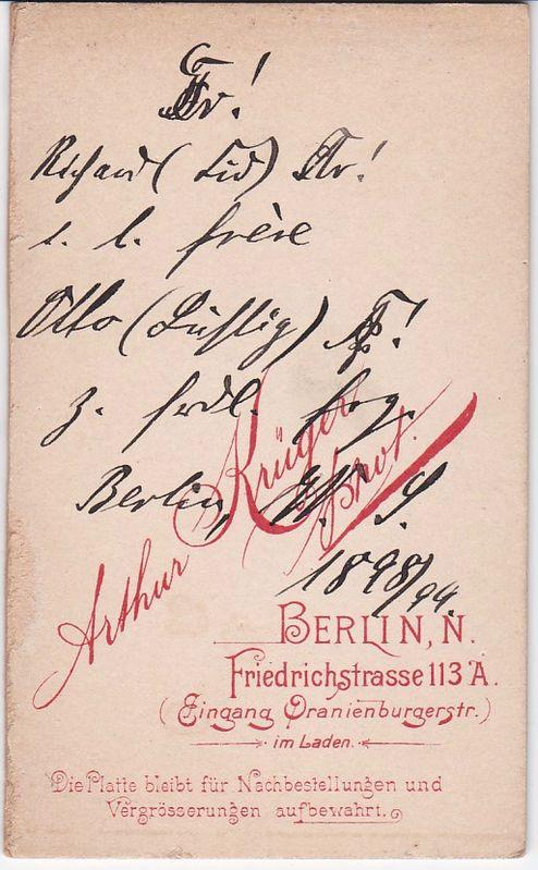 CDV Carte De Visite Foto Portrat Student Germania Berlin 1898 99 Arthur Kruger