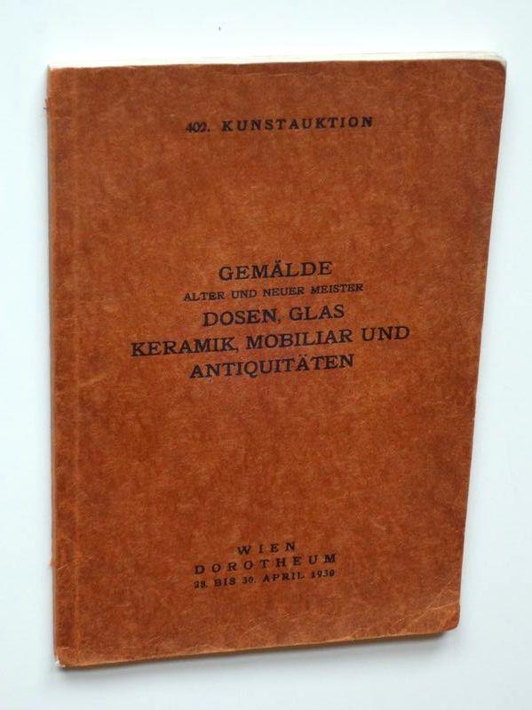 Auktionskataloge Antiquitäten & Kunst Kunstauktion Dorotheum Wien Kunstabteilung 1975 Historisch Sammlung