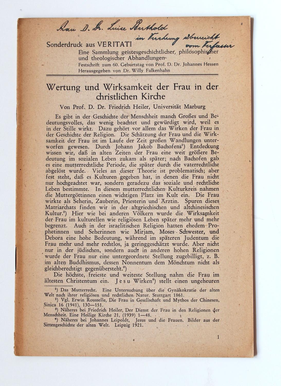Wertung und Wirksamkeit der Frau in der: Heiler, Friedrich