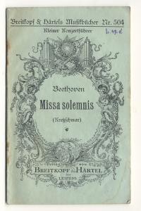 """Missa solemnis Op.123. Einzelausgabe aus dem """"Führer: Beethoven, Ludwig van"""