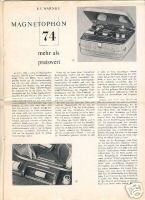 Telefunken Magnetophon 74. Sonderdruck der Radio Fernseh: Warnke, E. F.