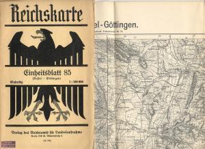 Reichskarte (1 cm-Karte) 1:100.000 Einheitsblatt 85 (Kassel: Reichsamt für Landesaufnahme