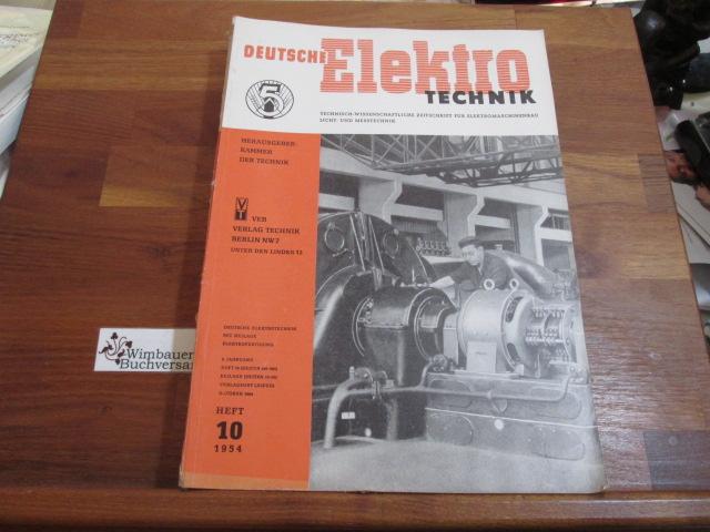 Deutsche Elektrotechnik. Heft 10 1954: Kammer der Technik
