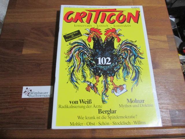 Criticon. Konservative Zeitschrift 102 Juli August 1987: Schrenck-Notzing, Caspar von