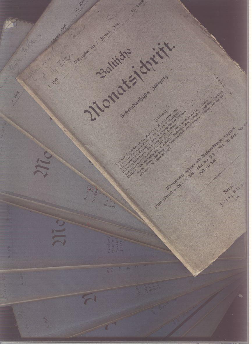 Baltische Monatsschrift 41. Band complett in 12