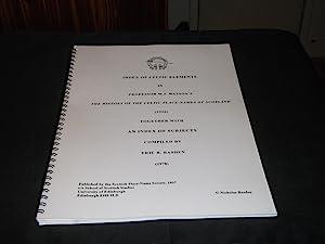 Index of Celtic Elements in Professor W: Eric B Basden