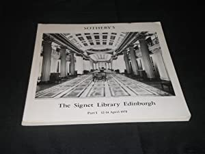 Sothebys Sale Catalogues The Signet Library Edinburgh Part 1 12 to 14 April 1978 and Part 2 8 &...