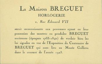 La Maison Breguet: Horlogerie. Musee Galliera (Paris). Good Exhibition Notice. 9 x 13.5 cm. Oblong. Single Page Letterpress On Watermarked Laid Paper, Near Fine. En Francais.