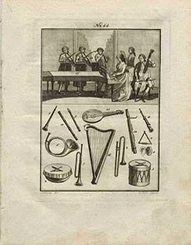 Die Musik. No. 44. (An 18th Century Quintet and musical instruments) KOHL, Clemens (direxit) and Johann SOLLERER, (del.) [Good]   Copperplate engraving with 4 pages of text. 25 x 19 cm. KOHL, Clemens, artist. Austrian, 1754-1807Editor: SOLLERER, JohannAustrian, 1747-1809No.44Sollerrer del.Cl. Kohl direxit.
