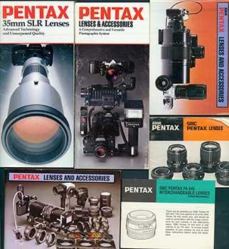 Pentax manuals for 35mm SLR Lenses, SMC Pentax FA 645 Interchageable Lenses, SMC Pentax Lenses, and three comprehensive Lenses & Accessories manuals.