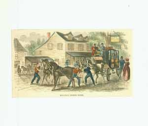 """""""""""Mail-Coach Changing Horses"""""""" from Ballou's Pictorial Drawing-Room Companion vol. 9, p. 248. [Artist unknown]. Good"""
