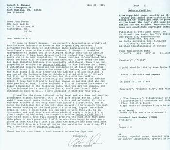 TLS Robert S. Nauman to Herb Yellin, November 27, 1993. RE: Stephen King Dolan's Cadillac. Robert S. Nauman. Good