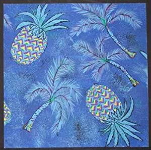 Blue Pineapples and Palm Fronds.