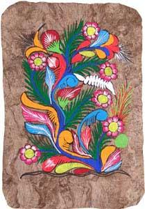 Mexican Bark Painting of Flowers.
