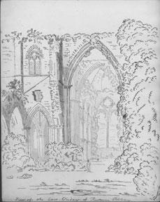 View of the East Window of Tintern Abbey.