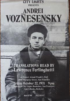 Poster: City Lights Presents Andrei Voznesensky. Translations read by Lawrence Ferlinghetti at Pr...