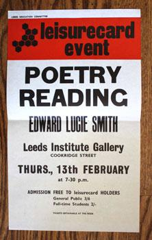 leisurecard event. POETRY READING. Edward Lucie Smith.