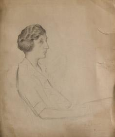 Portrait of a woman sitting.