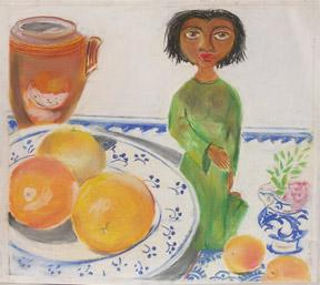 Dark Skinned Woman kneeling with large citrus fruits.