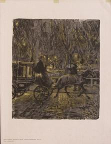 Droschke im Regen (Cab in rain).: Skarbina, Franz.