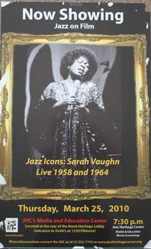 Unique poster for the film Jazz Icons: Sara Vaughn Live 1958 and 1964. March 25, 2010.
