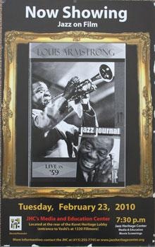 Unique poster for the film Louis Armstrong Jazz Journal Live in '59. Feb. 23, 2010.