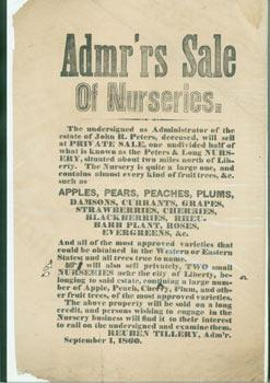 [Poster] Admr'rs [administrator's] Sale of Nurseries.