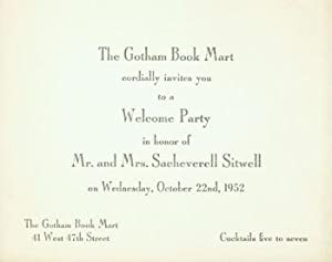 The Gotham Book Mart cordially invites you to a welcome party in honor of Mr. and Mrs. Sacheverell ...