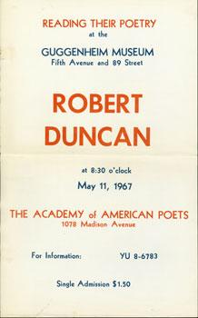 Reading Their Poetry at the Guggenheim Museum. Robert Duncan.