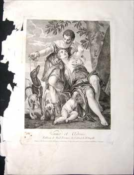 Venus et Adonis.: Ravenet, Simon François after Paul Vèronèse.