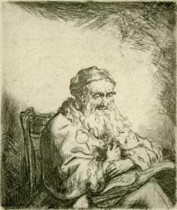 Seated man, reading.