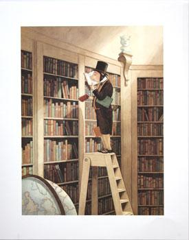 Anthropomorphic pig standing on ladder in the library.
