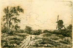 Dutch landscape with Windmill.