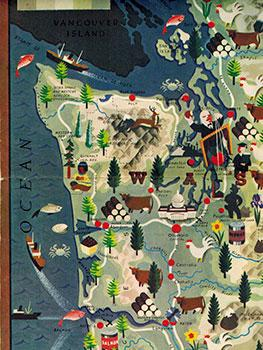 Pictorial Map of Washington and Oregon and Photograph of the San Francisco Power Elite.: ...