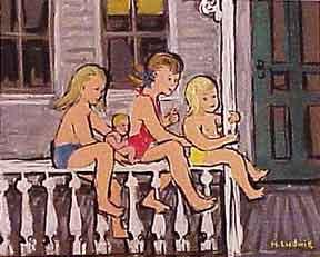 Three Children on a Fence.: Ludwig, Helen.