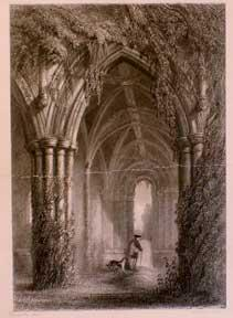 Dryburgh Abbey. Grave of Scott.: Miller, W. (after J. A. Bell).