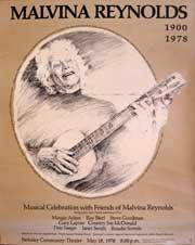 Musical Celebration with Friends of Malvina Reynolds (1900 - 1978). Poster.